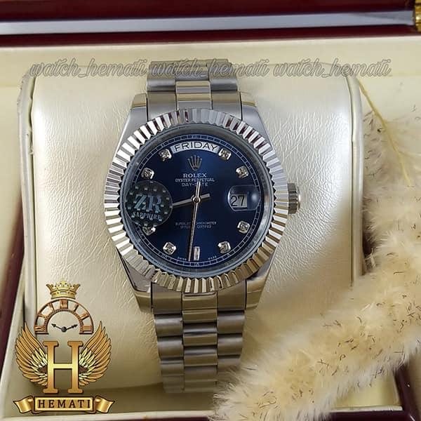 خرید اینترنتی ساعت مردانه رولکس دی دیت اتوماتیک Rolex Daydate RODDAM200 قاب و بند نقره ای ف صفحه سرمه ای