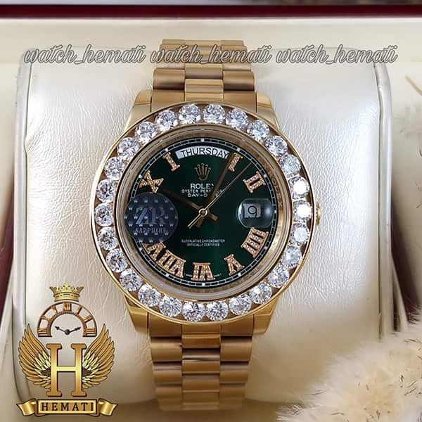 خرید ، قیمت ، مشخصات ساعت مردانه رولکس دی دیت اتوماتیک Rolex Daydate RODDAM206 قاب وبند طلایی ، دور قاب نگین ، صفحه سبز