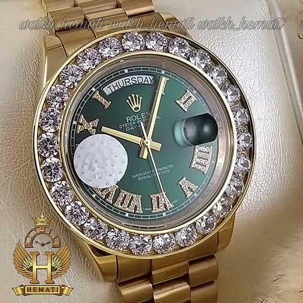 خرید اینترنتی ساعت مردانه رولکس دی دیت اتوماتیک Rolex Daydate RODDAM206 قاب وبند طلایی ، دور قاب نگین ، صفحه سبز
