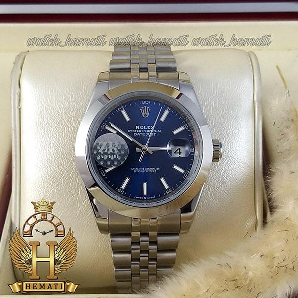ساعت مردانه رولکس دیت جاست اتوماتیک Rolex Datejust RODJAM102 نقره ای ، دور قاب ساده ، صفحه سرمه ای