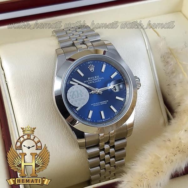 خرید اینترنتی ساعت مردانه رولکس دیت جاست اتوماتیک Rolex Datejust RODJAM102 نقره ای ، دور قاب ساده ، صفحه سرمه ای
