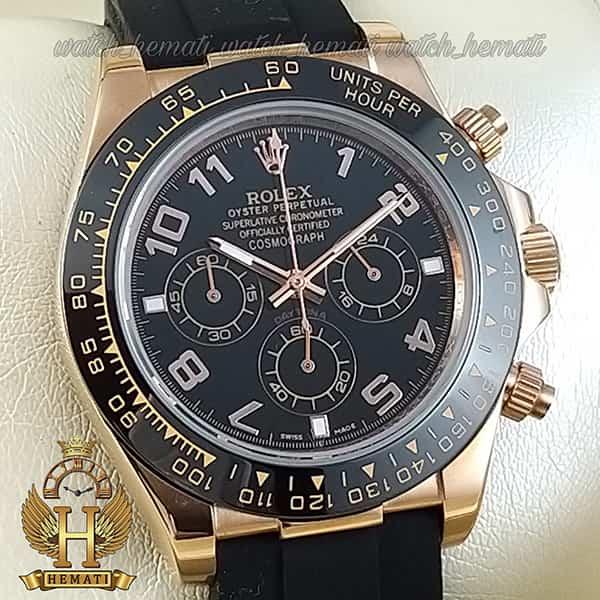 خرید ، قیمت ، مشخصات ساعت مردانه رولکس دیتونا Rolex Daytona RODTM200 قاب رزگلد مشکی ، بند رابر مشکی