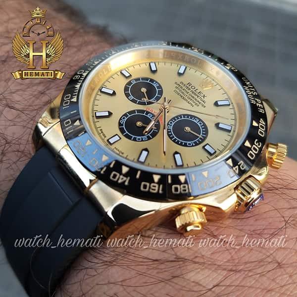 خرید ارزان ساعت مردانه رولکس دیتونا Rolex Daytona RODTM201 قاب مشکی و رزگلد ، بند رابر مشکی
