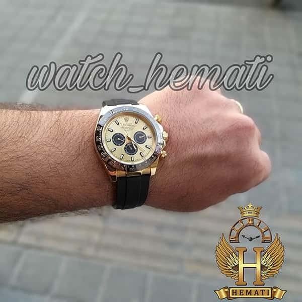 خرید اینترنتی ساعت مردانه رولکس دیتونا Rolex Daytona RODTM201 قاب مشکی و رزگلد ، بند رابر مشکی