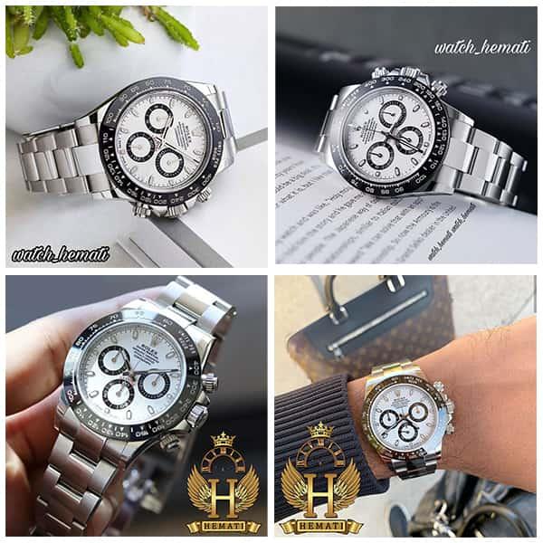خرید ، قیمت ، مشخصات ساعت مردانه رولکس دیتونا Rolex Daytona RODTM300 قاب نقره ای و دور قاب مشکی و بند استیل نقره ای