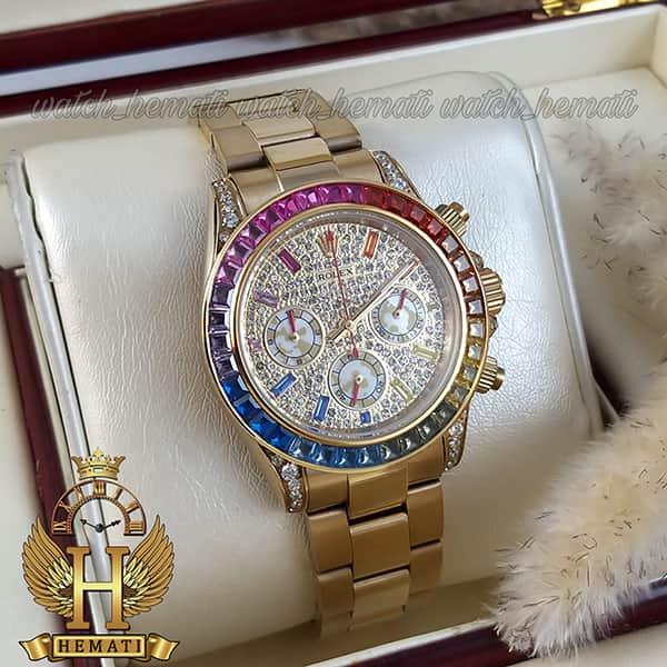 خرید اینترنتی ساعت اسپرت رولکس دیتونا Rolex Daytona RODTM100 قاب و بند طلایی ، صفحه و دور قاب و ایندکس نگین سوارفسکی