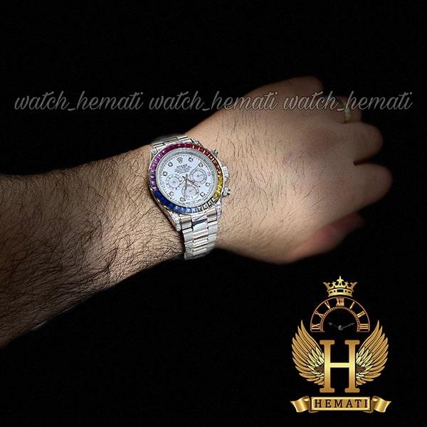 خرید انلاین ساعت اسپرت رولکس دیتونا اتوماتیک Rolex Daytona RODTM101 قاب و بند نقره ای ، صفحه و ایندکس و دور قاب نگین سوارفسکی