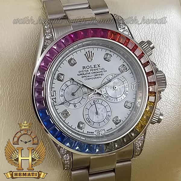 خرید ، قیمت ، مشخصات ساعت اسپرت رولکس دیتونا اتوماتیک Rolex Daytona RODTM101 قاب و بند نقره ای ، صفحه و ایندکس و دور قاب نگین سوارفسکی