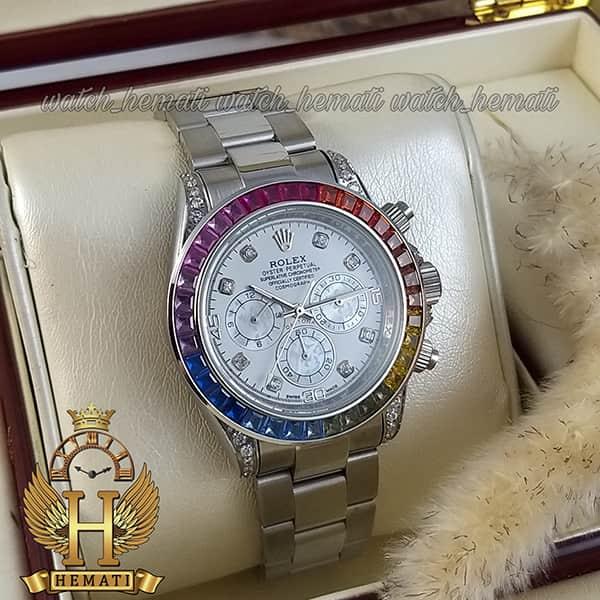 خرید ارزان ساعت اسپرت رولکس دیتونا اتوماتیک Rolex Daytona RODTM101 قاب و بند نقره ای ، صفحه و ایندکس و دور قاب نگین سوارفسکی