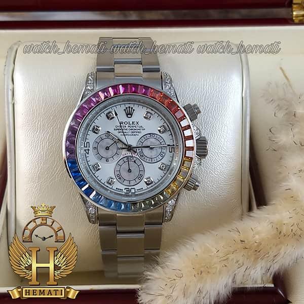 خرید اینترنتی ساعت اسپرت رولکس دیتونا اتوماتیک Rolex Daytona RODTM101 قاب و بند نقره ای ، صفحه و ایندکس و دور قاب نگین سوارفسکی