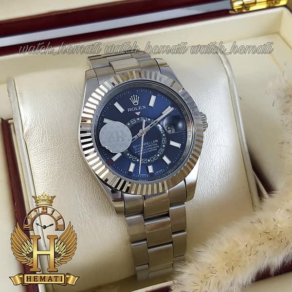 خرید اینترنتی ساعت مردانه رولکس اسکای دولر اتوماتیک Rolex Sky-Dweller ROSKM100 قاب و بند استیل نقره ای ف صفحه سرمه ای