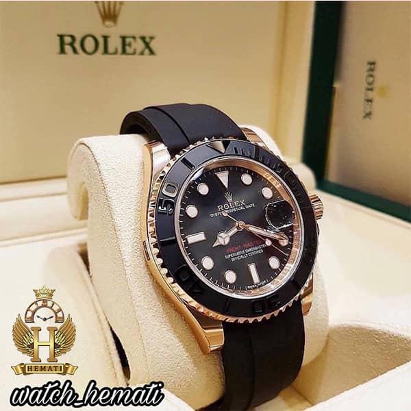 خرید ، قیمت ، مشخصات ساعت مردانه رولکس یاخ مستر اتوماتیک Rolex Yacht Master ROYMM101 قاب مشکی و رزگلد ، بند رابر مشکی