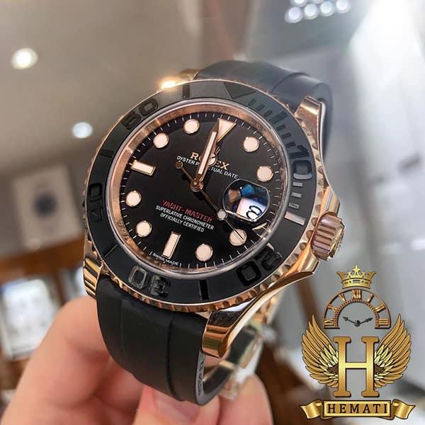 خرید اینترنتی ساعت مردانه رولکس یاخ مستر اتوماتیک Rolex Yacht Master ROYMM101 قاب مشکی و رزگلد ، بند رابر مشکی