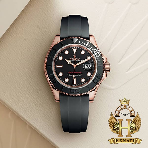 خرید انلاین ساعت مردانه رولکس یاخ مستر اتوماتیک Rolex Yacht Master ROYMM101 قاب مشکی و رزگلد ، بند رابر مشکی