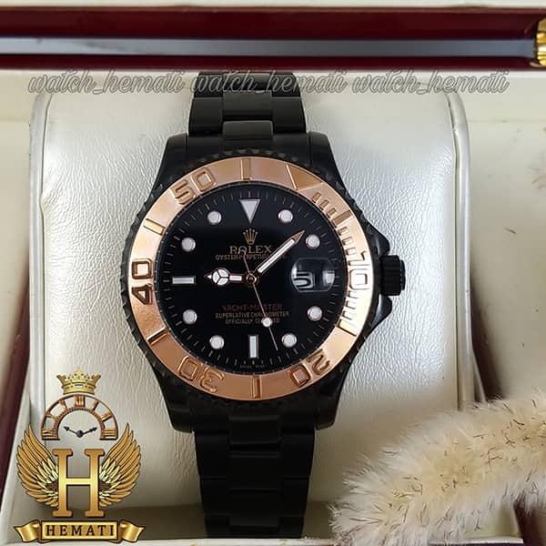 خرید ساعت مردانه رولکس یاخ مستر Rolex Yacht Master ROYMM100 رنگ مشکی و دور قاب رزگلد