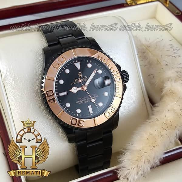 قیمت ساعت مردانه رولکس یاخ مستر Rolex Yacht Master ROYMM100 رنگ مشکی و دور قاب رزگلد