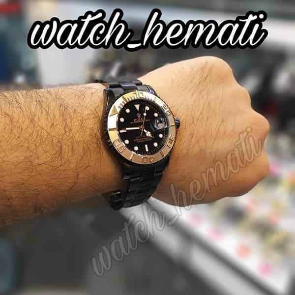 خرید ارزان ساعت مردانه رولکس یاخ مستر Rolex Yacht Master ROYMM100 رنگ مشکی و دور قاب رزگلد