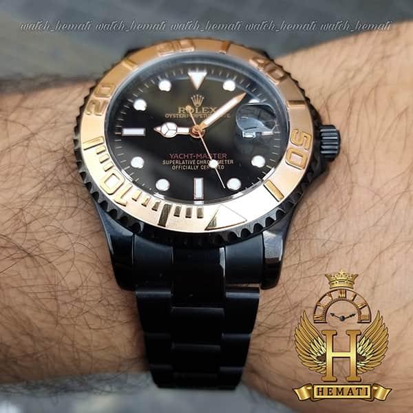 خرید اینترنتی ساعت مردانه رولکس یاخ مستر Rolex Yacht Master ROYMM100 رنگ مشکی و دور قاب رزگلد