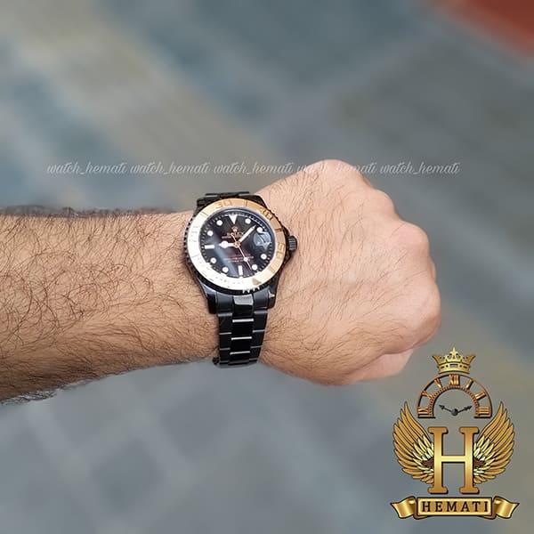 خرید انلاین ساعت مردانه رولکس یاخ مستر Rolex Yacht Master ROYMM100 رنگ مشکی و دور قاب رزگلد