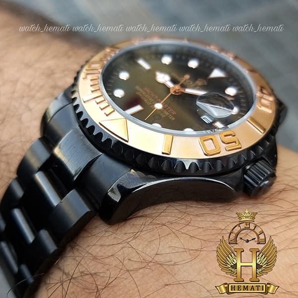 ساعت مچی مردانه رولکس یاخ مستر Rolex Yacht Master ROYMM100 رنگ مشکی و دور قاب رزگلد