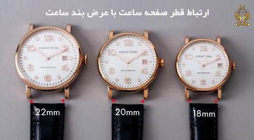 ارتباط قطر صفحه ساعت و عرض بند ساعت مچی