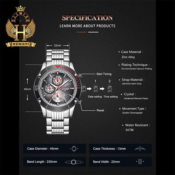 مشخصات ساعت مچی مردانه نیوی فورس مدل naviforce nf9173m نقره ای مشکی