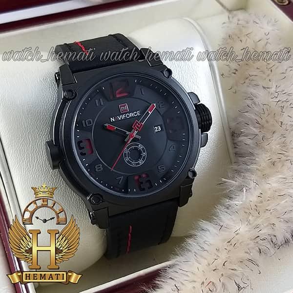 مشخصات ساعت مچی مردانه نیوی فورس مدل naviforce nf9099m قاب مشکی بند چرم مشکی با دوخت قرمز