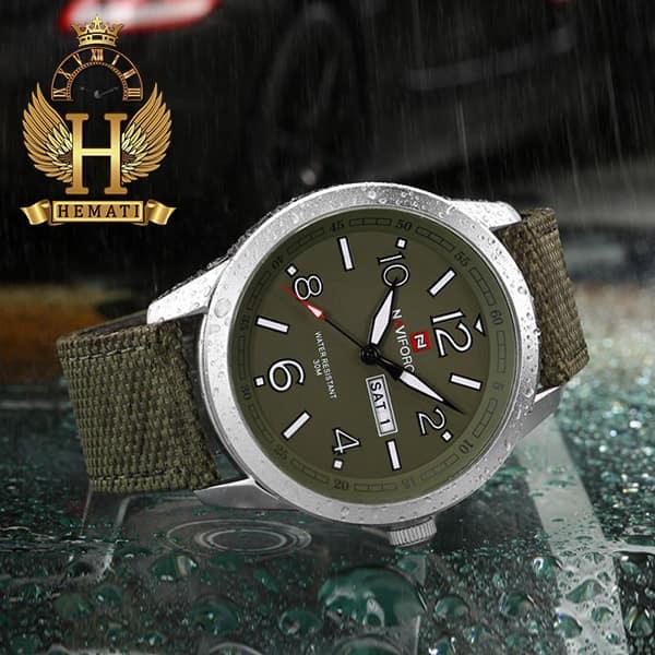 خرید ساعت مردانه نیوی فورس مدل naviforce nf9101m قاب نقره ای صفحه و بند سبز