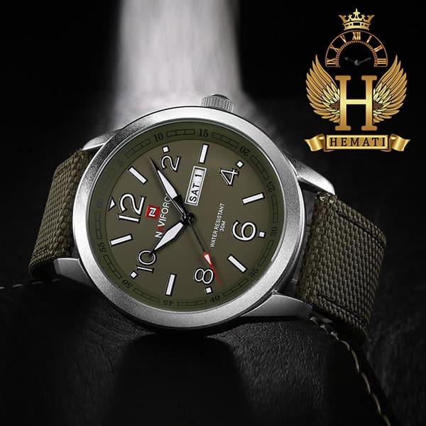 قیمت ساعت مردانه نیوی فورس مدل naviforce nf9101m قاب نقره ای صفحه و بند سبز