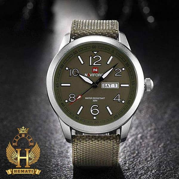 خرید ارزان ساعت مردانه نیوی فورس مدل naviforce nf9101m قاب نقره ای صفحه و بند سبز
