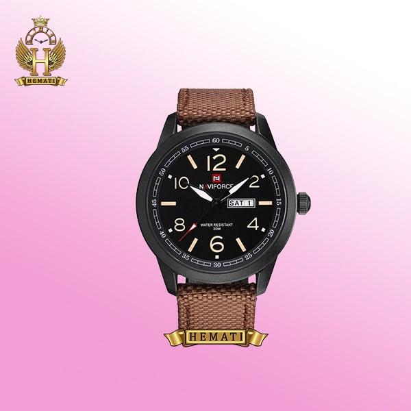 ساعت مچی ناوی فورس مردانه مدل Navifroce NF9101 بند قهوه ای قاب مشکی مات-دارای دو تقویم ماه و هفته