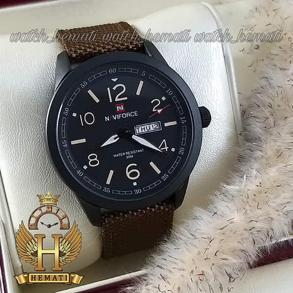 قیمت ساعت مچی مردانه نیوی فورس مدل naviforce nf9101m قاب و صفحه مشکی بند قهوه ای تیره