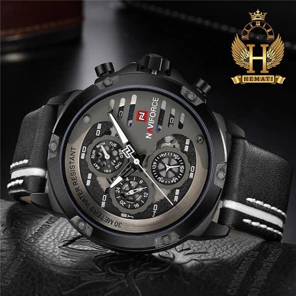 قیمت ساعت مردانه نیوی فورس مدل naviforce nf9110m مشکی سفید