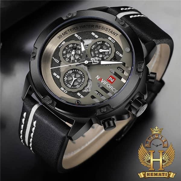 مشخصات ساعت مردانه نیوی فورس مدل naviforce nf9110m مشکی سفید