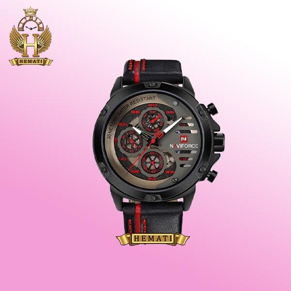 خرید ساعت مردانه نیوی فورس NF9110 بند چرمی رنگ مشکی-قرمز فول دیت