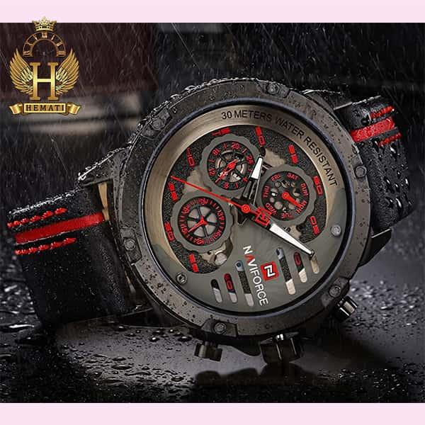 ساعت مردانه نیوی فورس مدل naviforce nf9110m مشکی قرمز بند چرم