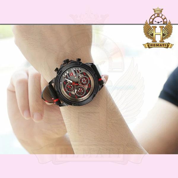 قیمت ساعت مردانه نیوی فورس مدل naviforce nf9110m مشکی قرمز بند چرم
