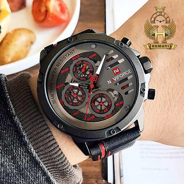 مشخصات ساعت مردانه نیوی فورس مدل naviforce nf9110m مشکی قرمز بند چرم