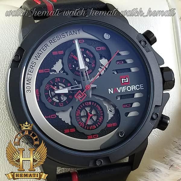 خرید اینترنتی ساعت مردانه نیوی فورس مدل naviforce nf9110m مشکی قرمز بند چرم