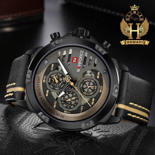 ساعت مردانه نیوی فورس مدل naviforce nf9110m قاب و صفحه مشکی با بند چرم