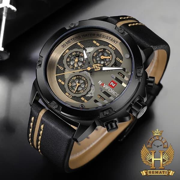 قیمت ساعت مردانه نیوی فورس مدل naviforce nf9110m قاب و صفحه مشکی با بند چرم