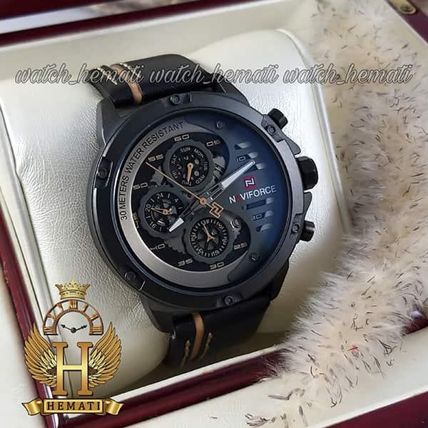 مشخصات ساعت مردانه نیوی فورس مدل naviforce nf9110m قاب و صفحه مشکی با بند چرم
