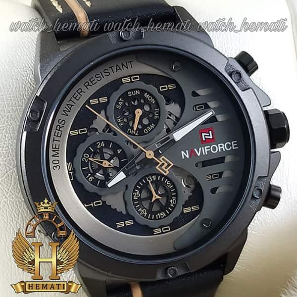 خرید انلاین ساعت مردانه نیوی فورس مدل naviforce nf9110m قاب و صفحه مشکی با بند چرم