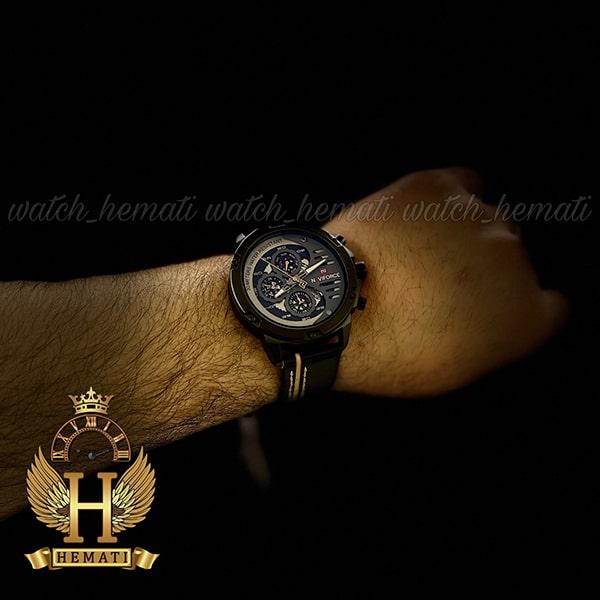 خرید ساعت مچی مردانه نیوی فورس مدل naviforce nf9110m قاب و صفحه مشکی با بند چرم