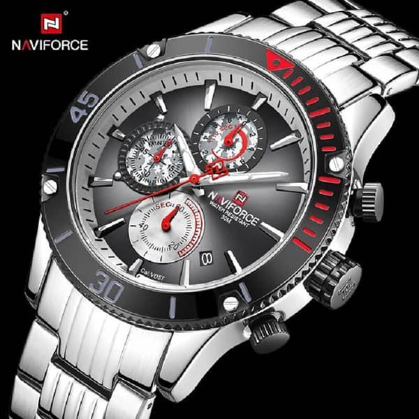 ساعت مردانه نیوی فورس مدل naviforce nf9173m نقره ای مشکی