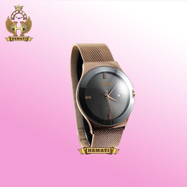 خرید ساعت مردانه رادو استیل Rado 440G رزگلد بند حصیری صفحه ساعت مشکی و قفل آهنربایی یا مگنتی