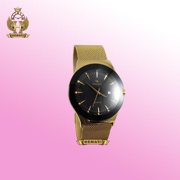 خرید ساعت مردانه رادو استیل Rado 780G طلایی بند حصیری همراه با قفل مگنتی یا آهنربایی