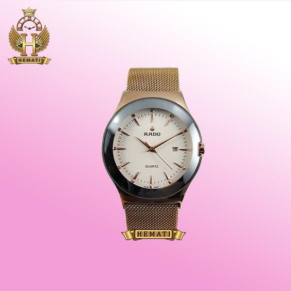 ساعت مردانه رادو استیل Rado RDH100 رزگلد (بند حصیری) با قفل مگنتی ، رنگ صفحه سفید