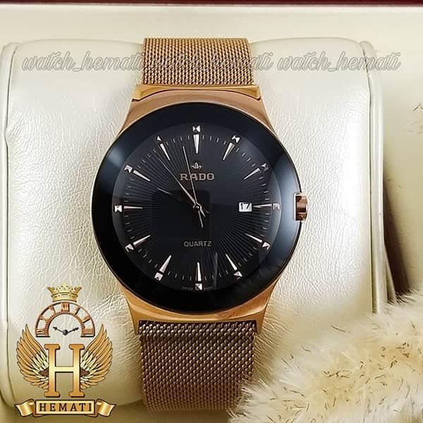 خرید اینترنتی ساعت مردانه رادو استیل Rado RDH100 رزگلد (بند حصیری) با قفل مگنتی ، رنگ صفحه مشکی