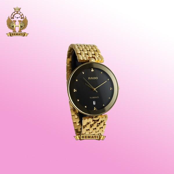 خرید ساعت زنانه رادو فلورانس Rado Florence FL1720G طلایی صفحه مشکی ساده جنس استیل عقربه ای